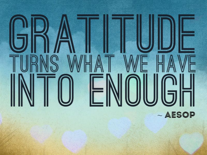 Gratitude turns what we have into enough. ~ Aesop