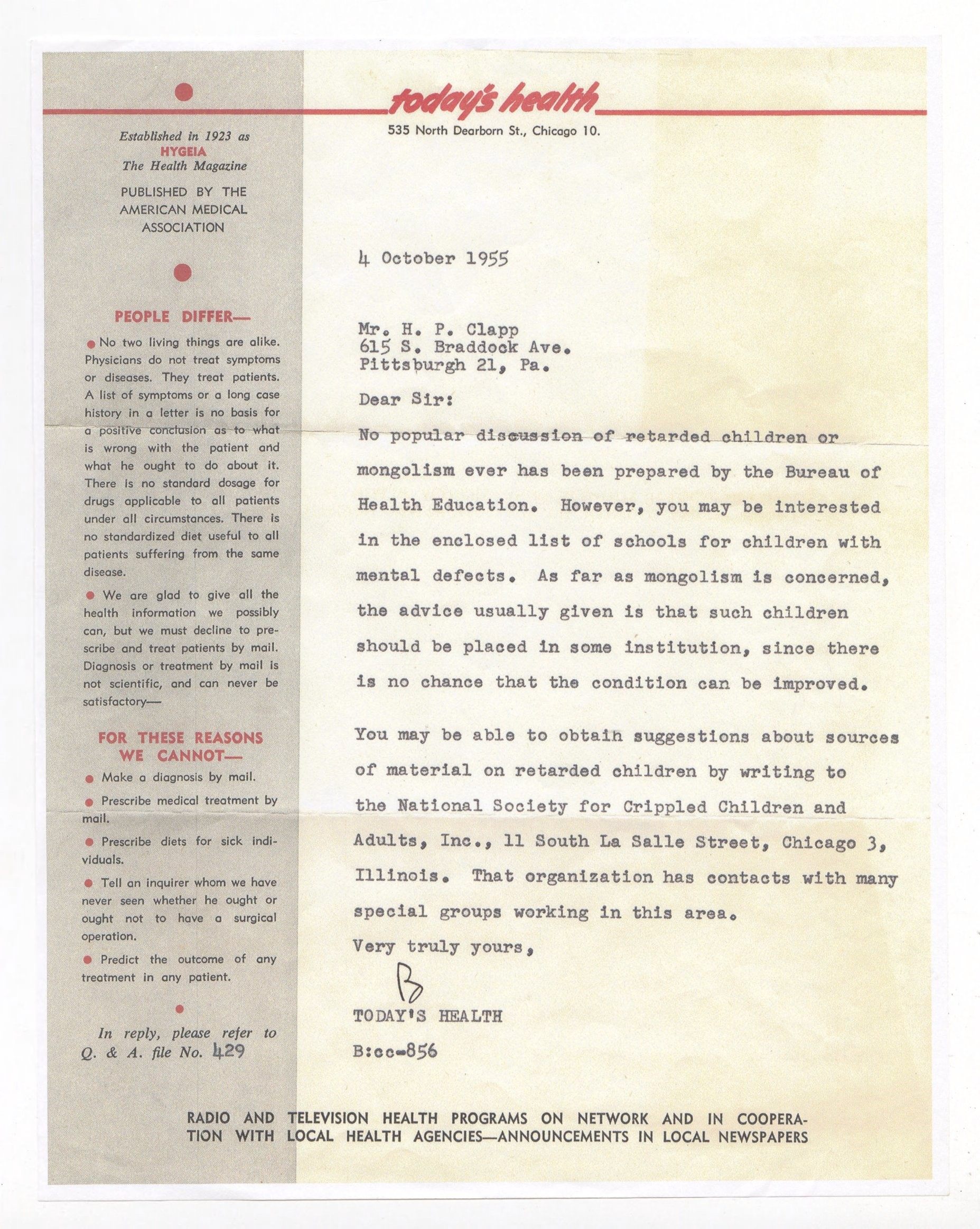 Letter from the American Medical Association reflecting an inaccurate and grim medical prognosis for children with Down syndrome in the 1950s. Citation:Patricia Clapp Papers and Photographs, MSS 1196, Detre Library and Archives, Heinz History Center.