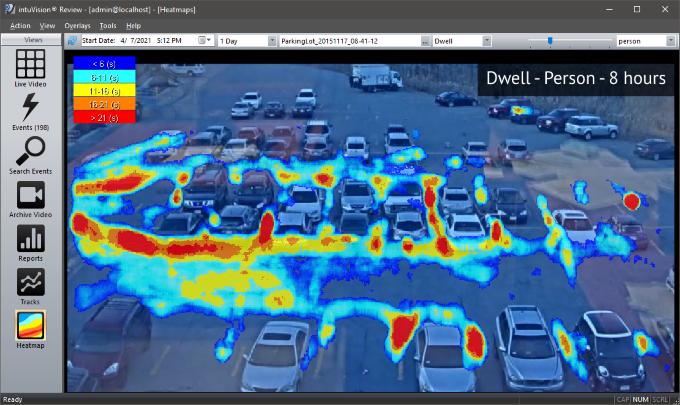 Person dwell heatmap with intuVision VA in a parkinglot.