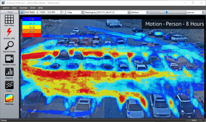 Person motion heatmap with intuVision VA in a parkinglot