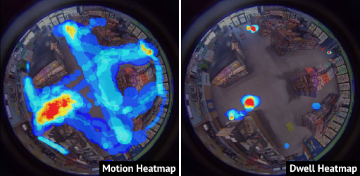 motion and dwell heatmaps on 360 store video.