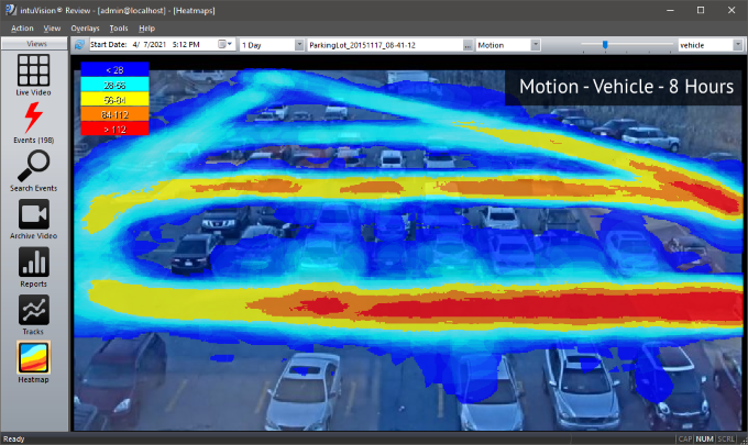 Vehicle motion heatmap with intuVision VA in a parkinglot