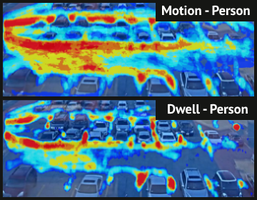 Person motion vs dwell heatmap from intuVision VA.