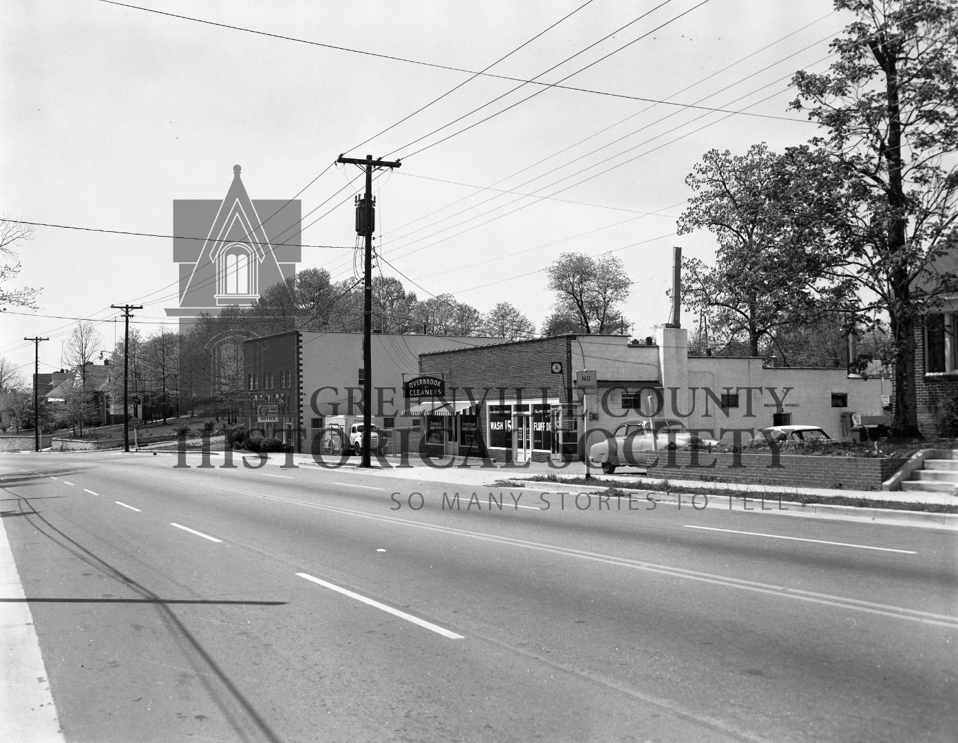 Overbrook Cleaners + Foremost Dairy Offices (soon to be Overbrook Village) in 1962 | Photo via the Joe Jordan Collection at the Greenville County Historical Society