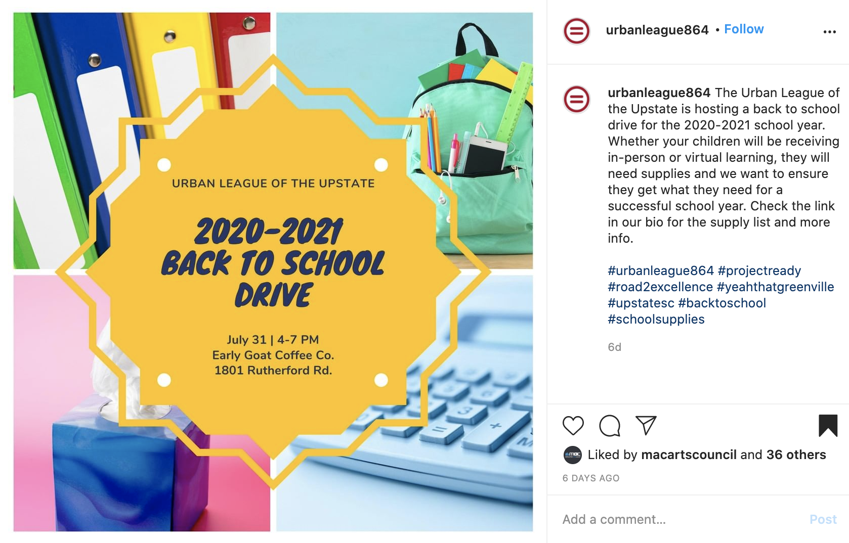 The Urban League of the Upstate Back to School Drive