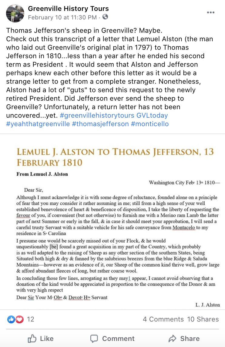 Text of letter from Lemuel Alston to Thomas Jefferson asking for a sheep