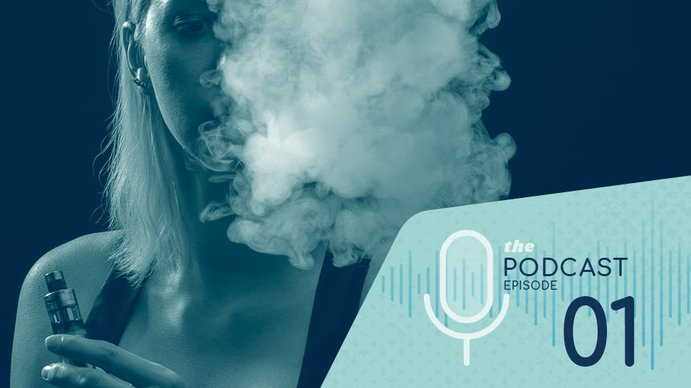 "Photo of young girl vaping with ""the podcast episode 01"" text overlayed"