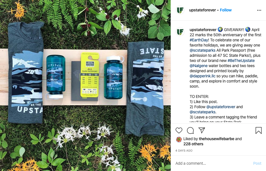 Earth Day giveaway from Upstate Forever