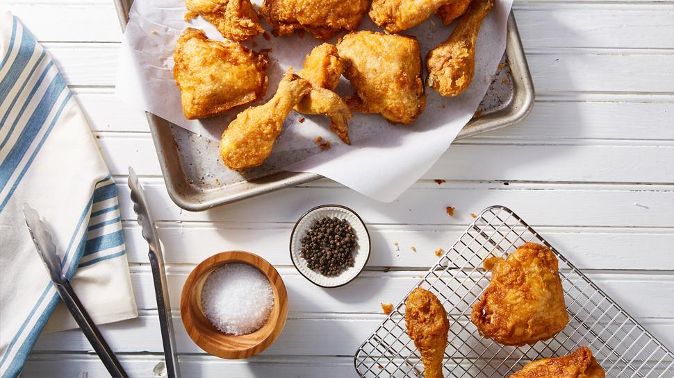 Spread of fried chicken