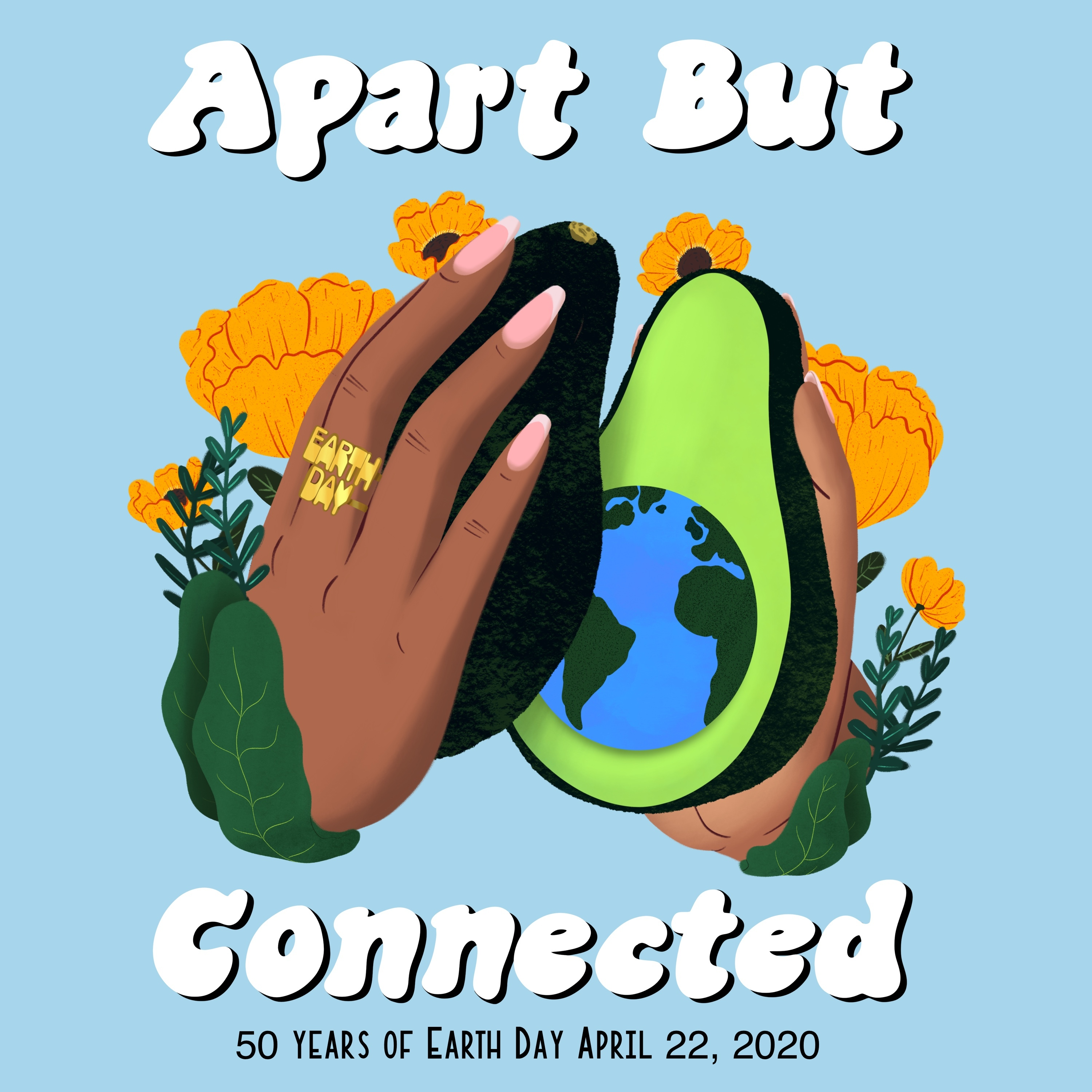 Apart but Connected Hands Earth Day Graphic
