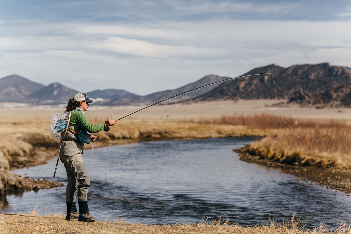 A woman fishes at Charlie Meyer State Wildlife Area