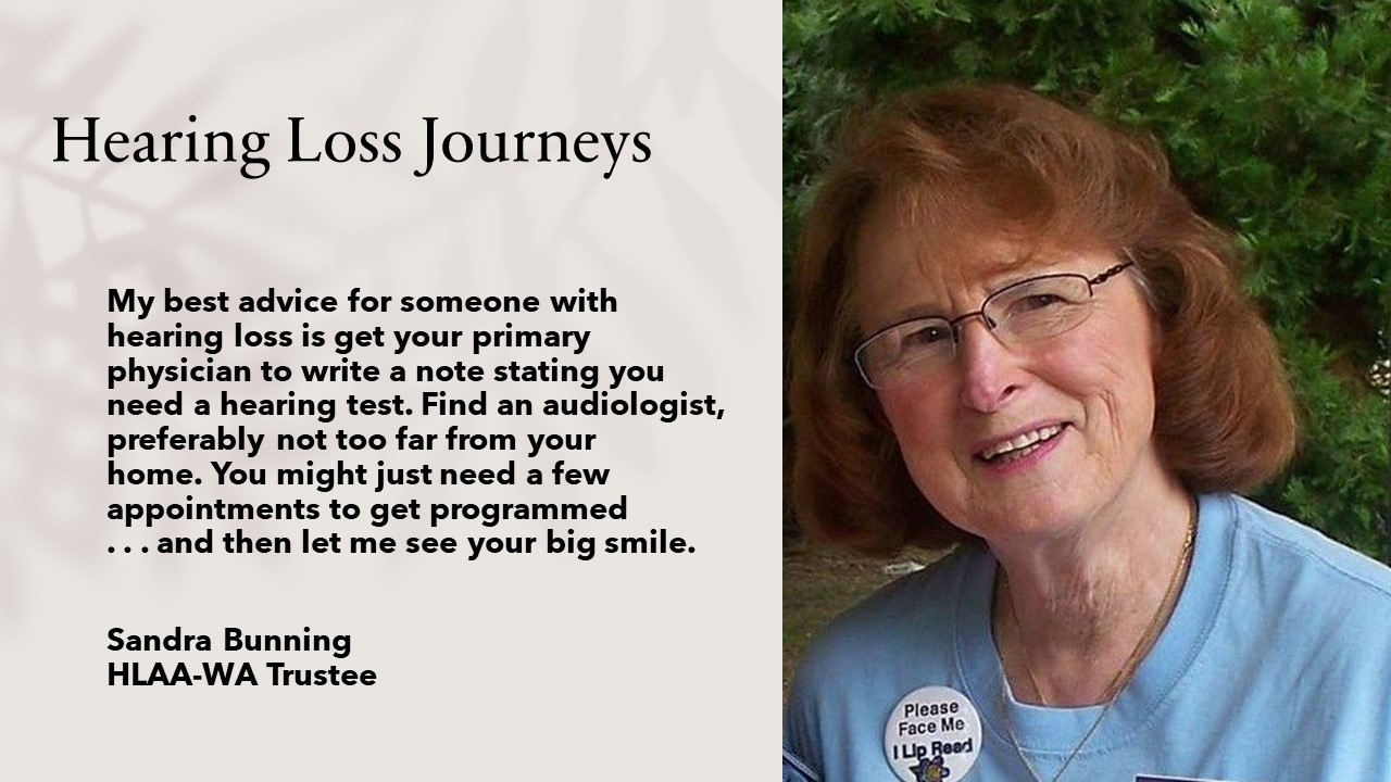 Hearing Loss Journeys quote plus photo of woman with glasses smiling. trees in background