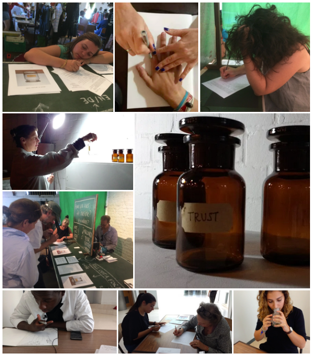 A collection of images of people participating in Invisibility Lab creative research experiments. Includes images of people writing, tracing hands, apothecary bottles, talking and thinking.