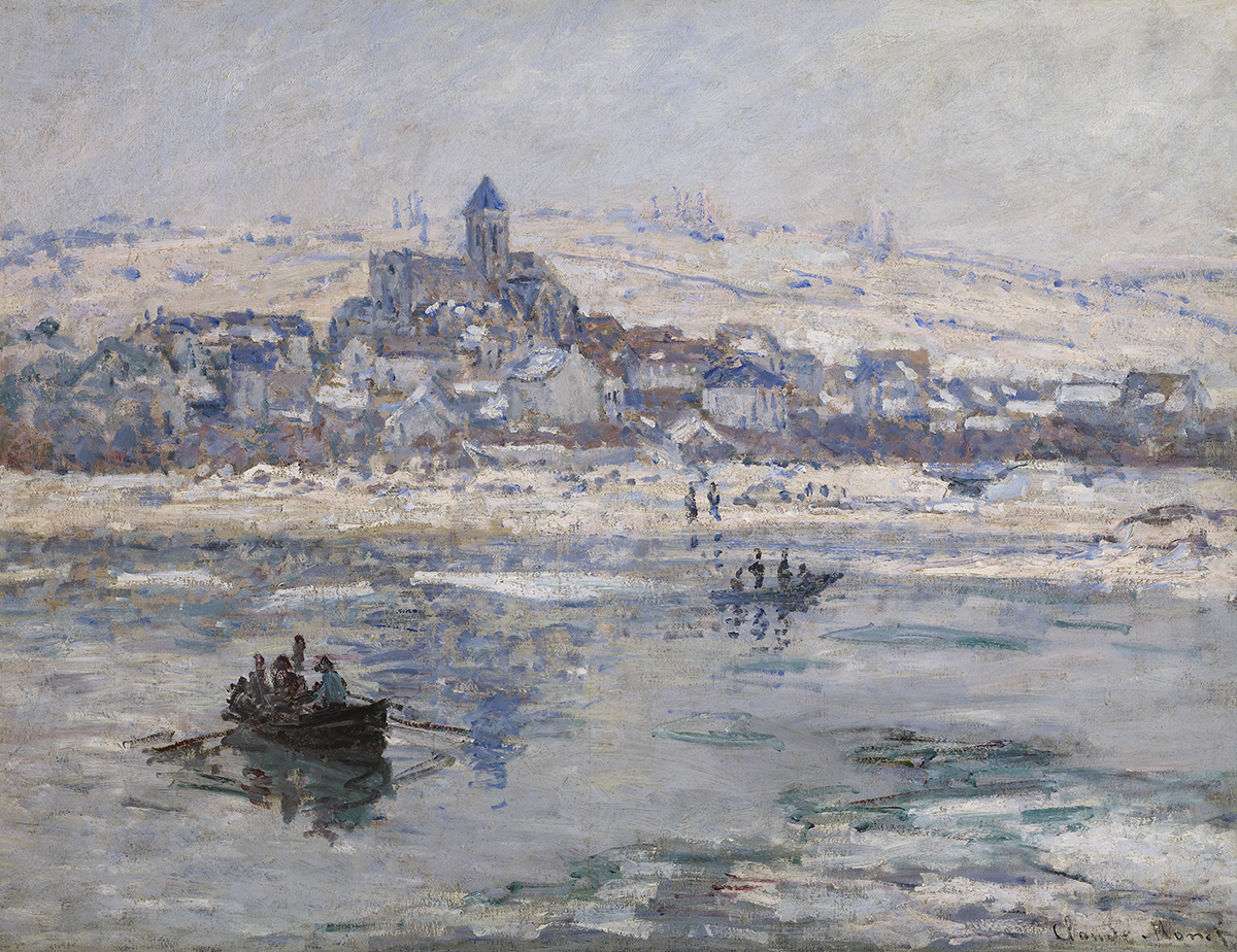 Impressionist oil painting of a river in winter with a cityscape and snow-covered mountains in the background