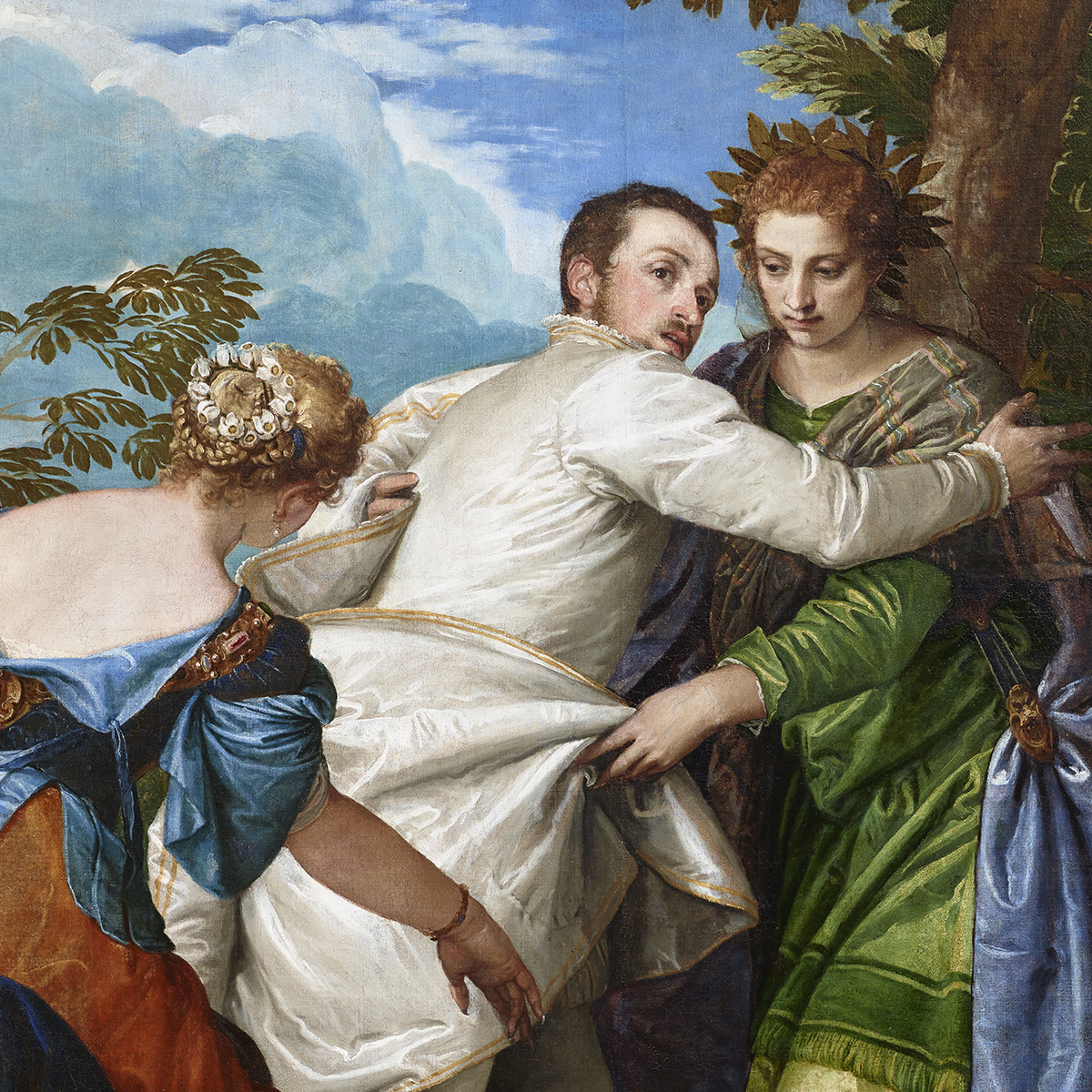 "A detail of Veronese's ""Choice Between Virtue and Vice."" Set against a cloudy blue sky, Hercules (center) encounters two women in colorful robes, representing Virtue and Vice. Vice reaches for the hero with taloned hands. Hercules turns away to face Virtue"
