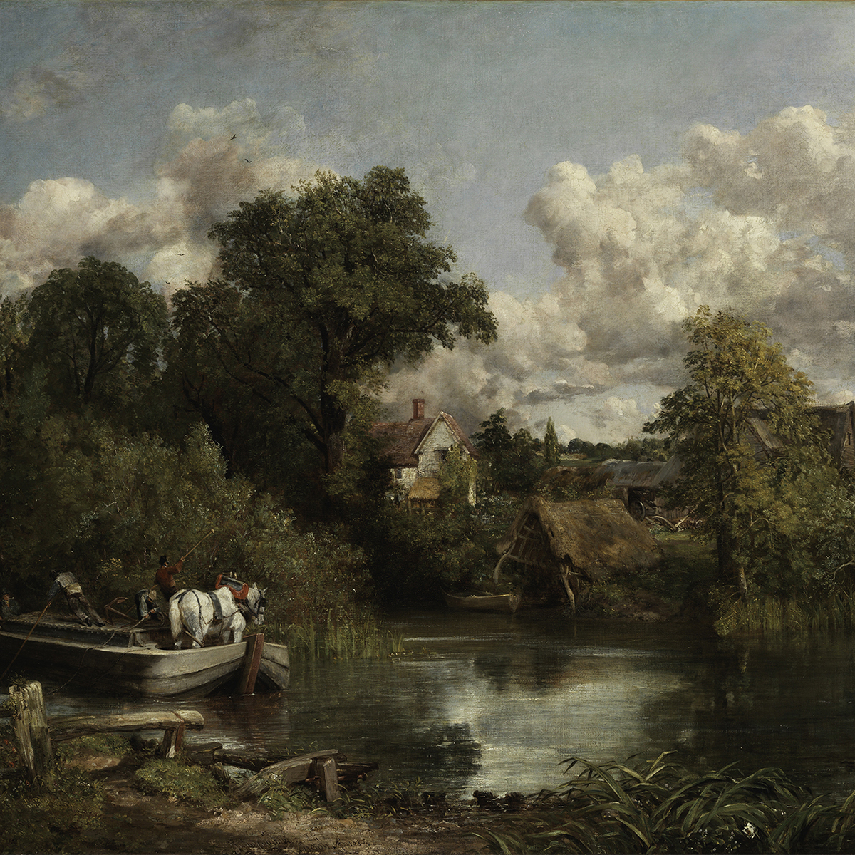 Oil painting of lush green landscape with boat on a river ferrying a white horse