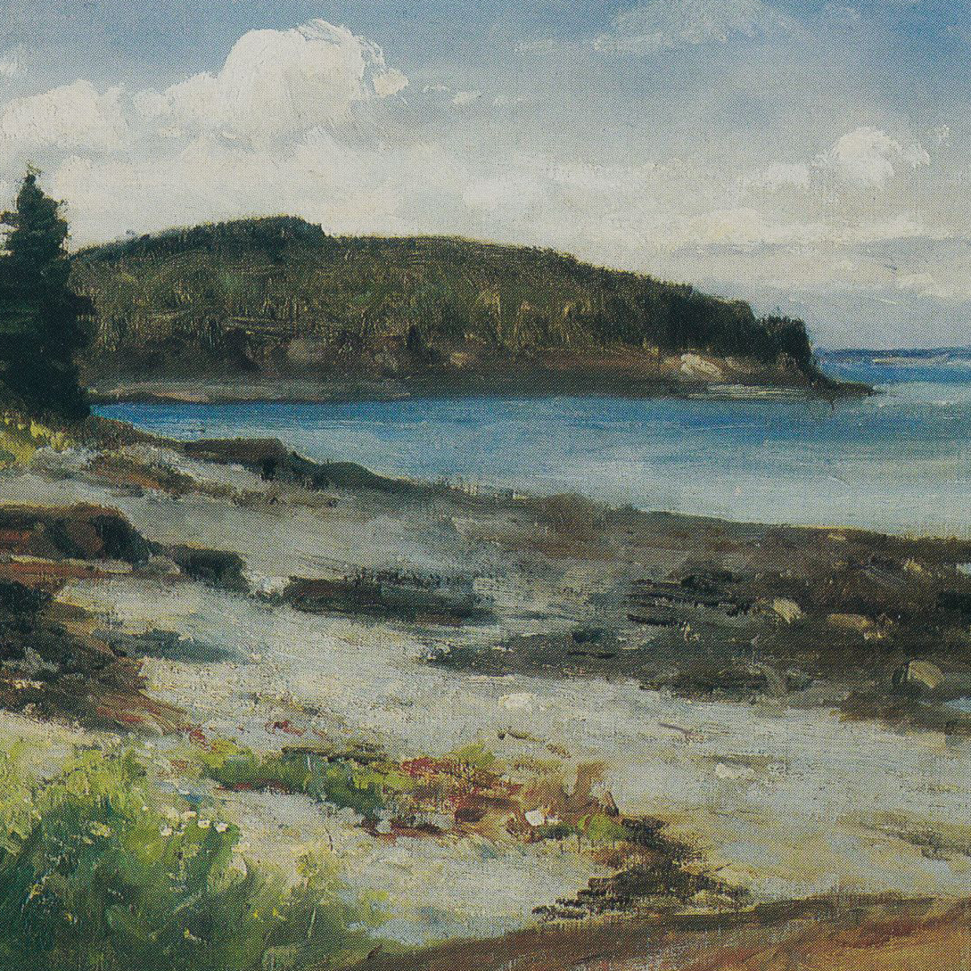 "A detail of a reproduction of Edward Mitchell Bannister's ""New England Coast."" A curved coastline meets a calm blue ocean"