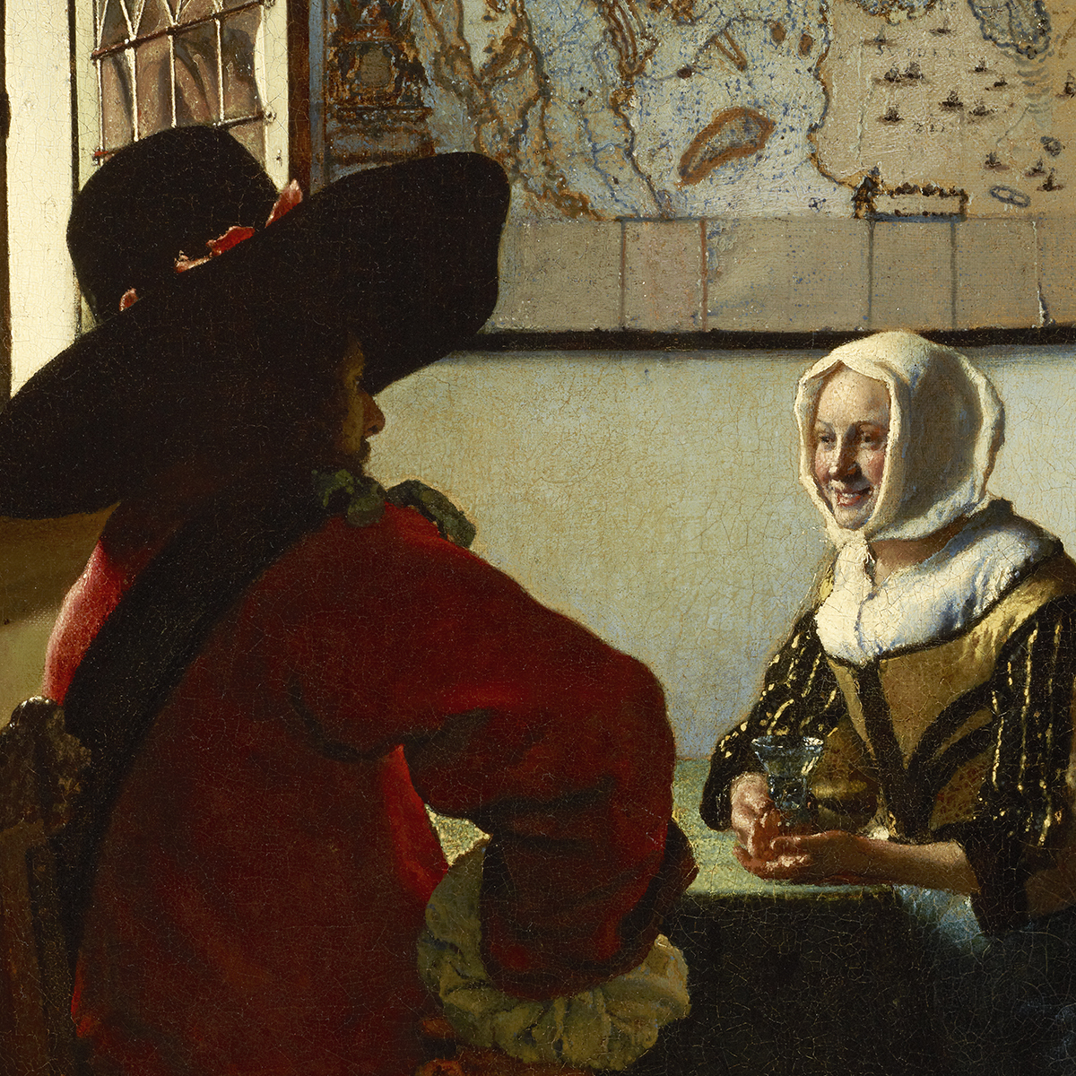 Oil painting of a woman and man sitting at a table near a window