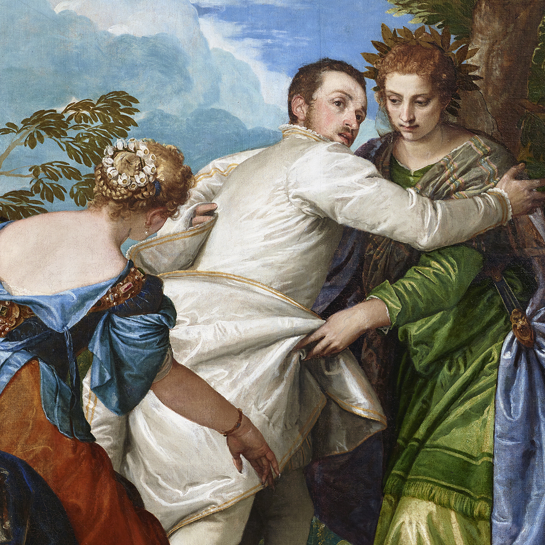 Set against a cloudy blue sky, Hercules (center) encounters two women in colorful robes, representing Virtue and Vice