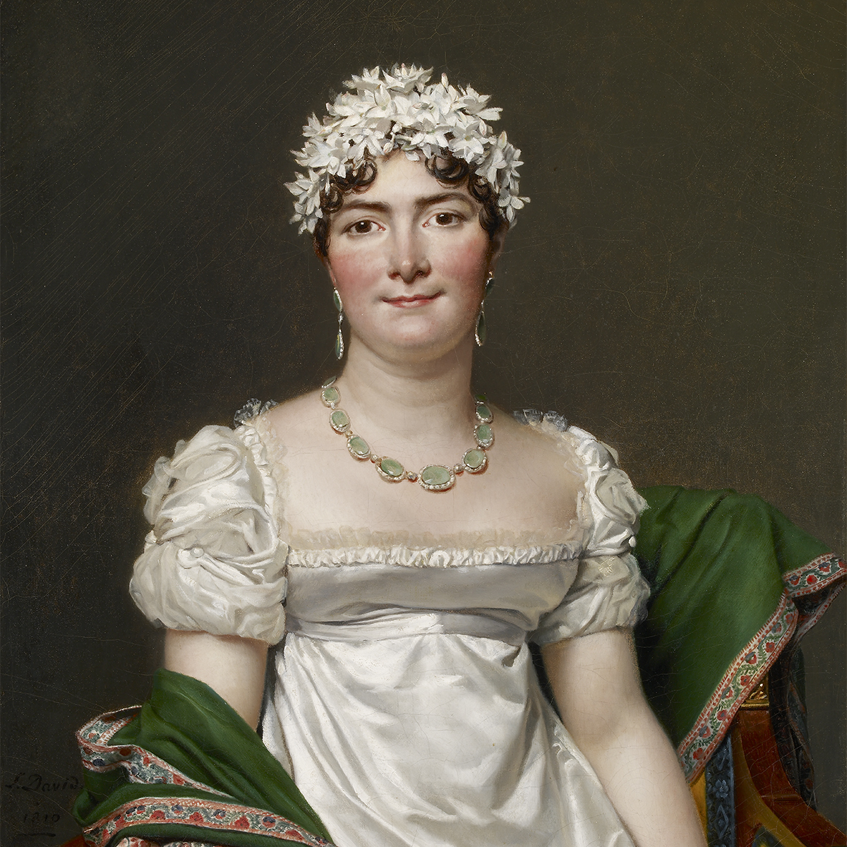 Oil painting of a seated woman in a white dress wearing a headpiece of white flowers