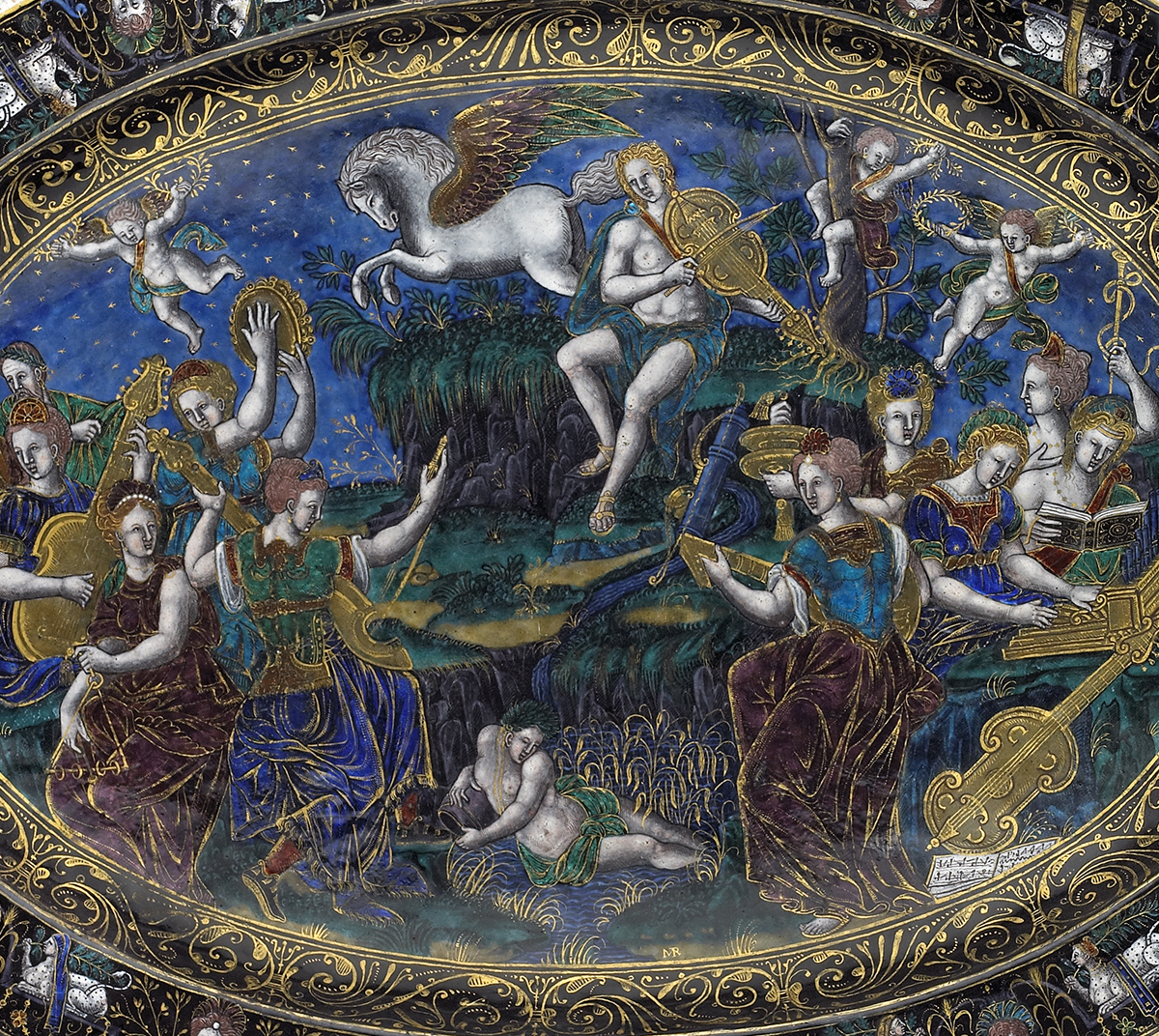Oval Dish: Apollo and the Muses; Fame