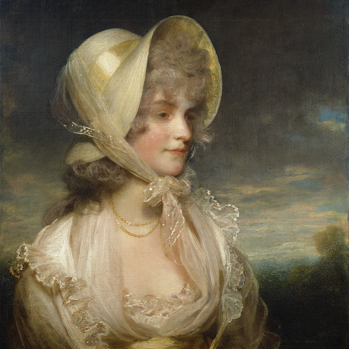 Oil painting of lady wearing a cream colored hat and looking to the side