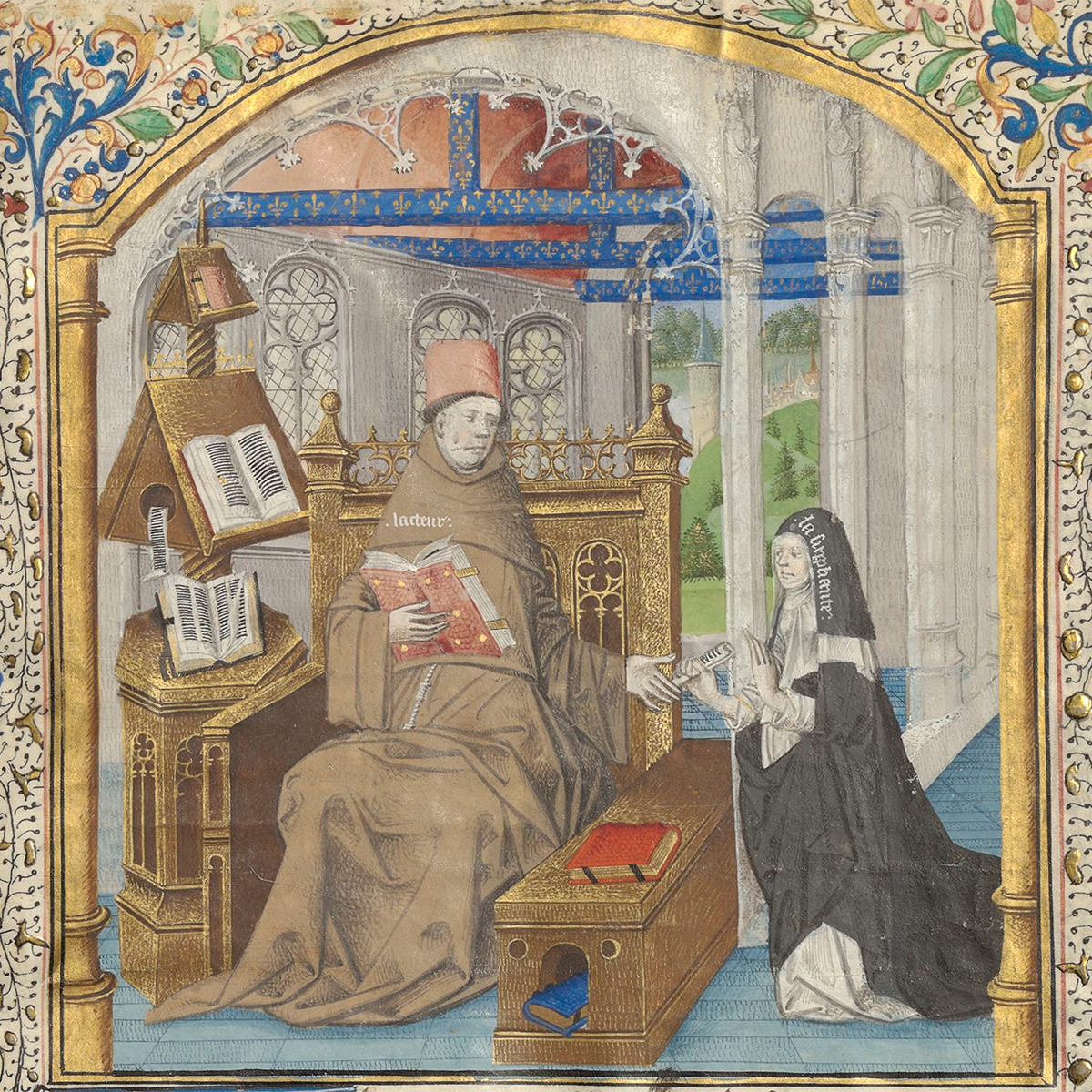 A gold-trimmed manuscript illustration depicting a monk in robes at a reading desk in a medieval cloister receiving a roll of papers from a kneeling nun.