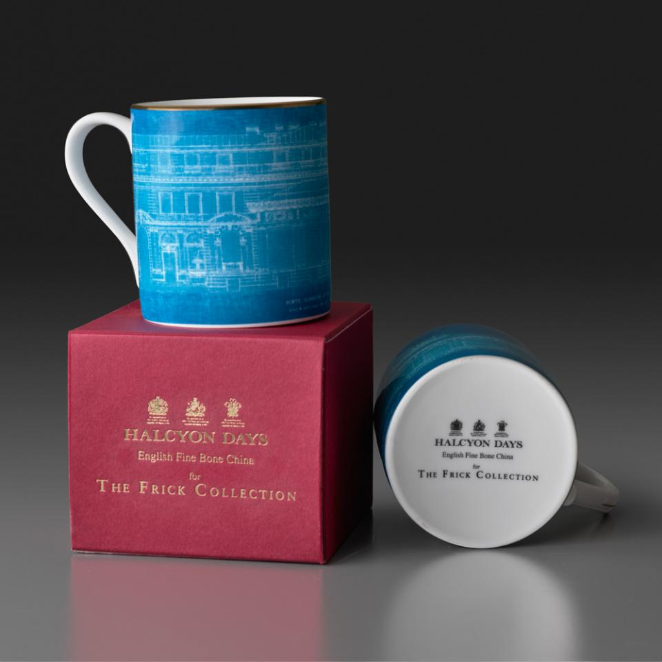 Two fine bone china mugs adorned with blueprints of the Frick building