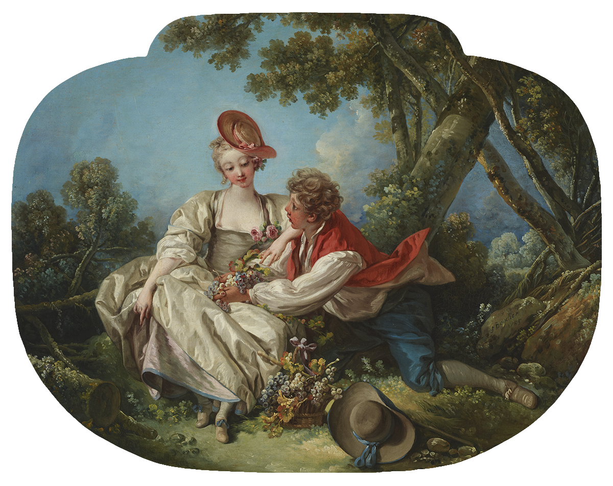 Oil painting of a woman in a white dress seated next to a man in blue pants and a red vest in a landscape