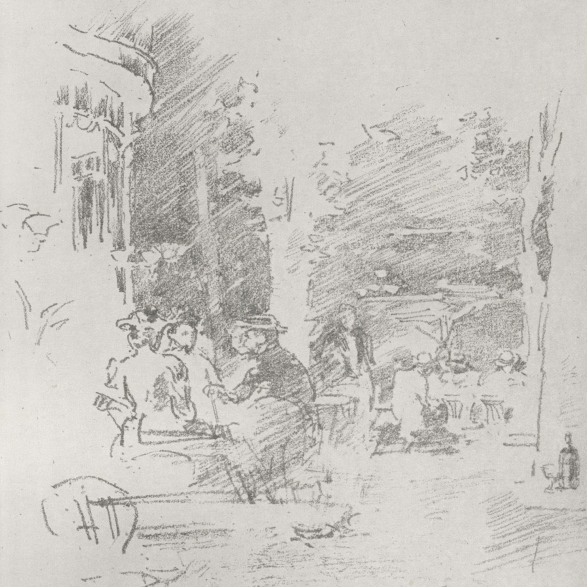 A detail of a monochromatic print by Whistler. Four people dine at a cafe