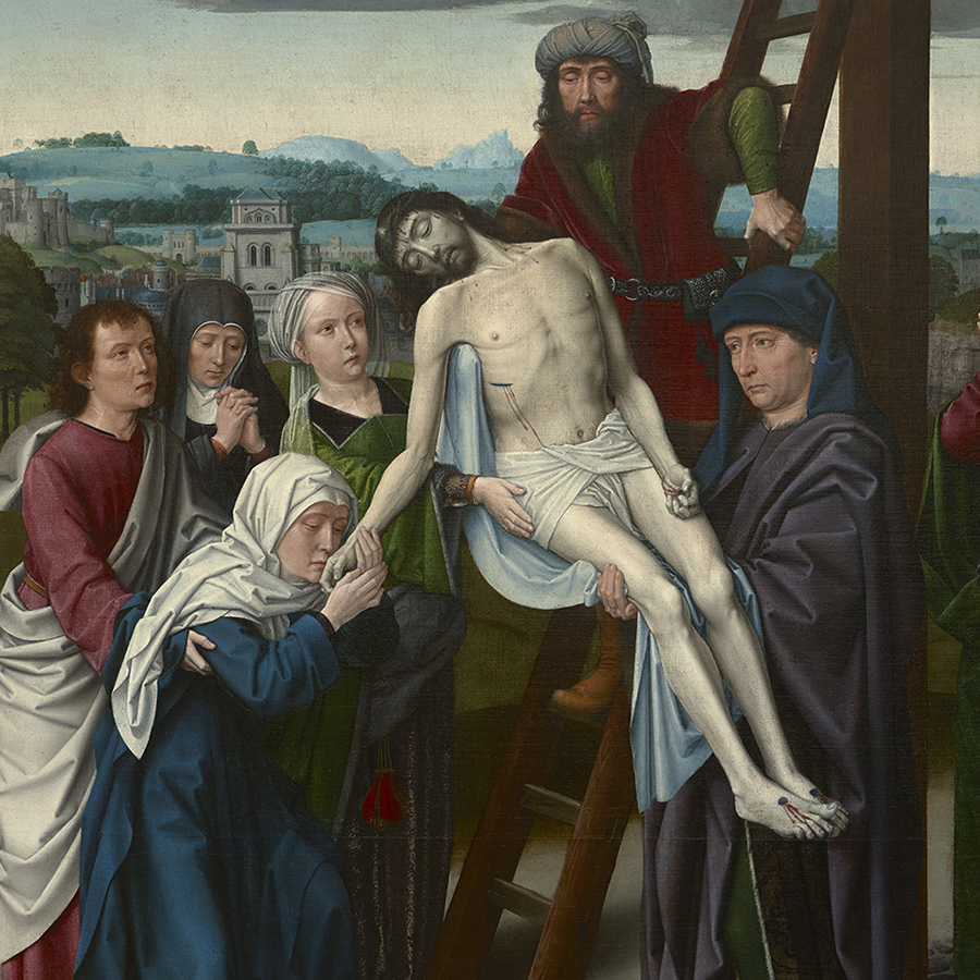 Oil painting of Christ being lowered from the cross