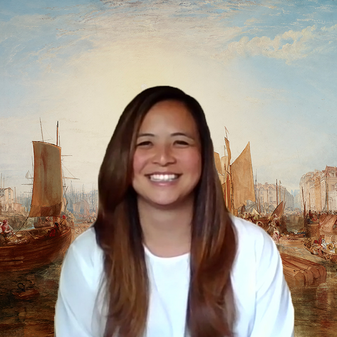 A screenshot of a woman smiling in front of Turner's Harbor of Dieppe