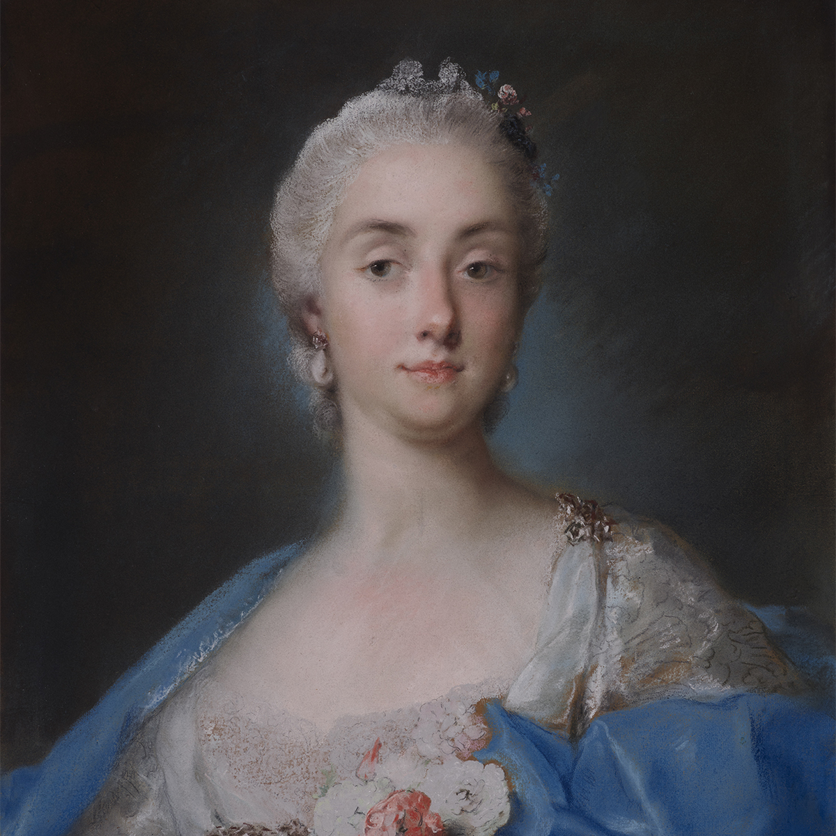 Pastel half-length portrait of a woman wearing a white dress with a collection of flowers at the front and a blue shawl draped on her shoulders.