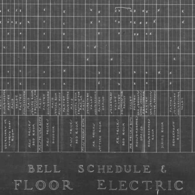 Black-and-white spreadsheet from early 1900s indicating electrical wiring plan