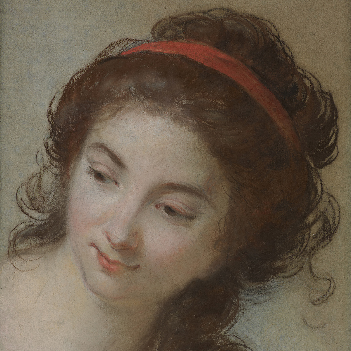 A pastel drawing of a young woman turned to the side. She wears a red ribbon in her brown hair