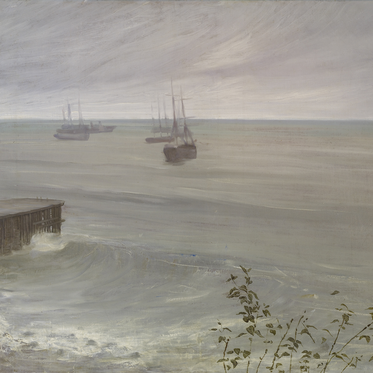 Oil painting of ocean with boats