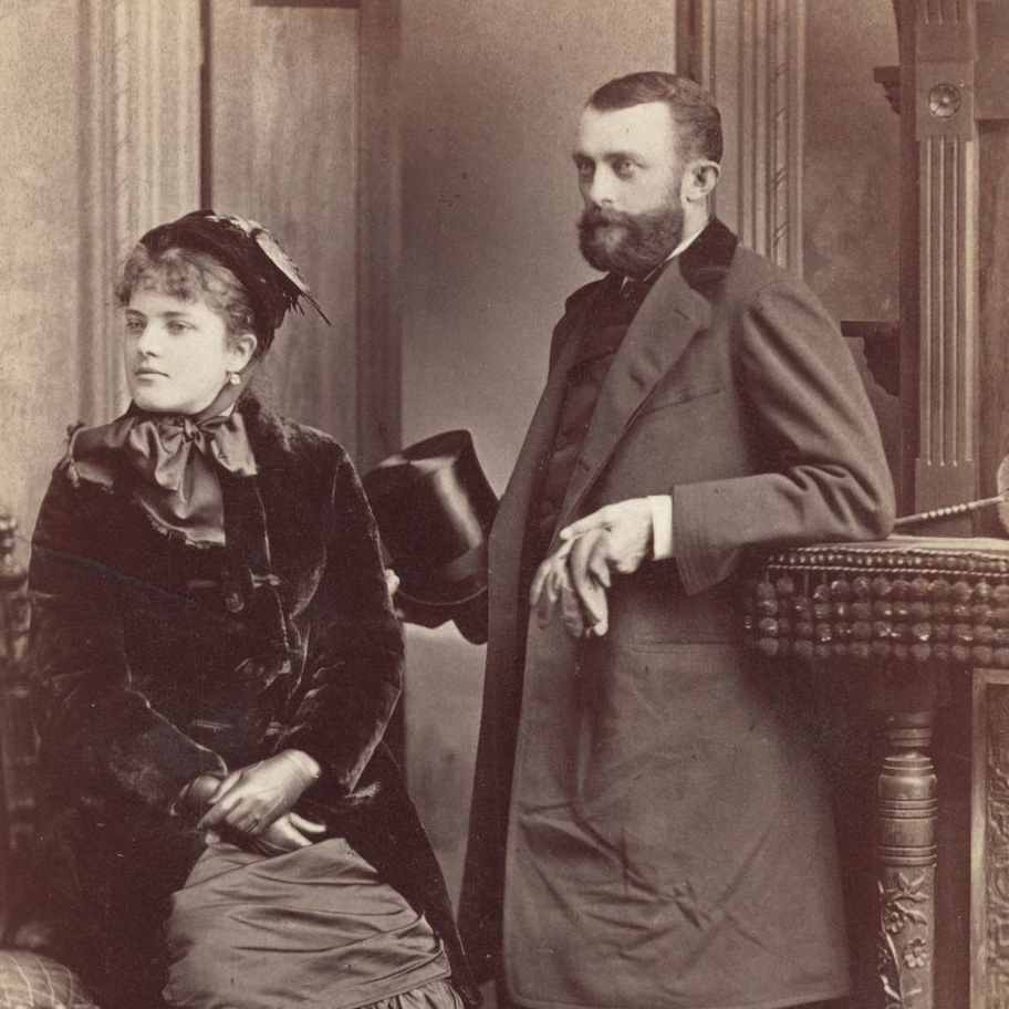 Black and white photo of a young married couple in 1882