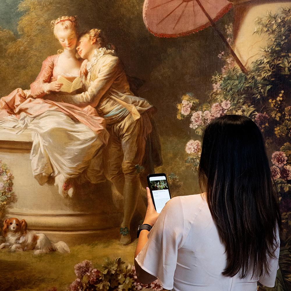 Installation view at Frick Madison of Fragonard's Progress of Love