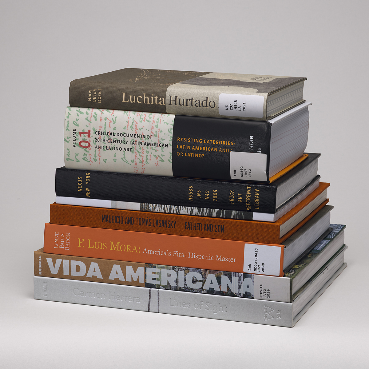 A stack of eight library books