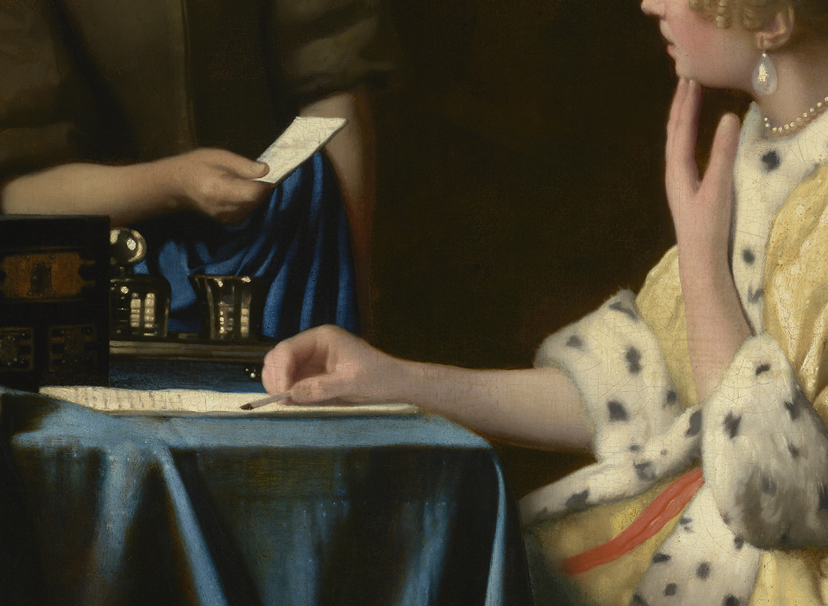 Johannes Vermeer (Dutch, 1632–1675), Mistress and Maid (detail), 1666−67