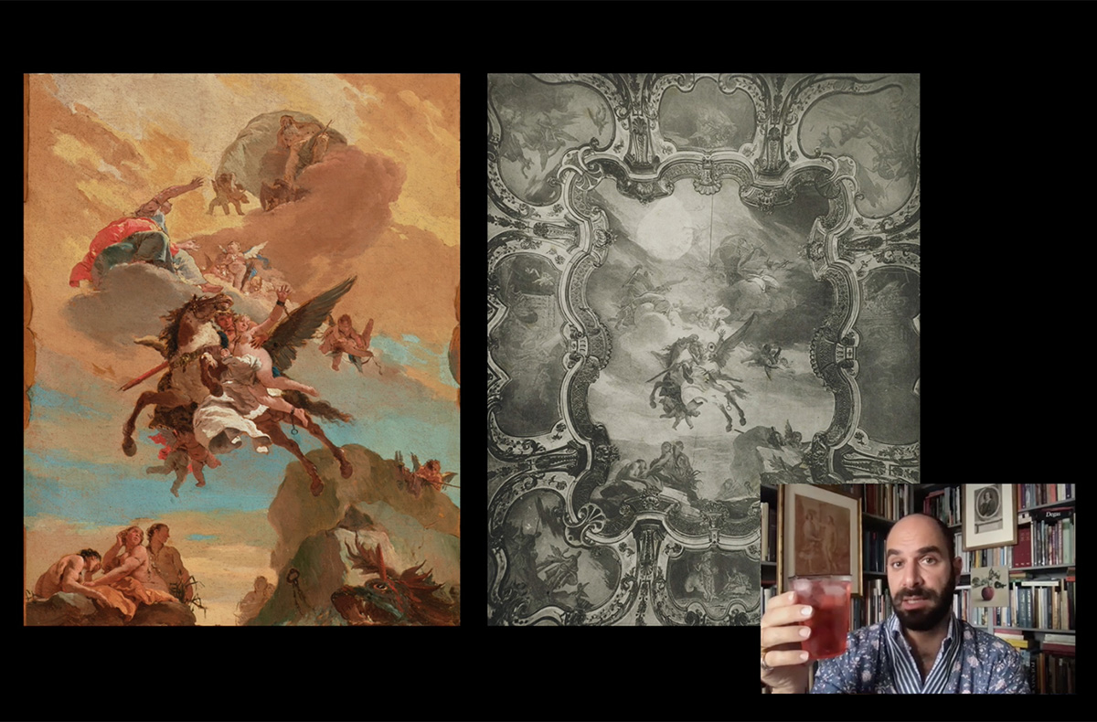 Screenshot of Xavier F. Salomon, Deputy Director and Peter Jay Sharp Chief Curator, hosting Cocktails with a Curator