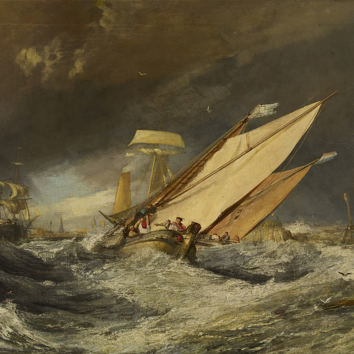 Oil painting of ships entering a harbor. Large waves crash around the center sailboat. Dark gray clouds loom overhead