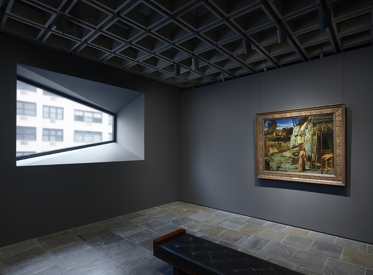 Installation view at Frick Madison of Giovanni Bellini, St. Francis in the Desert