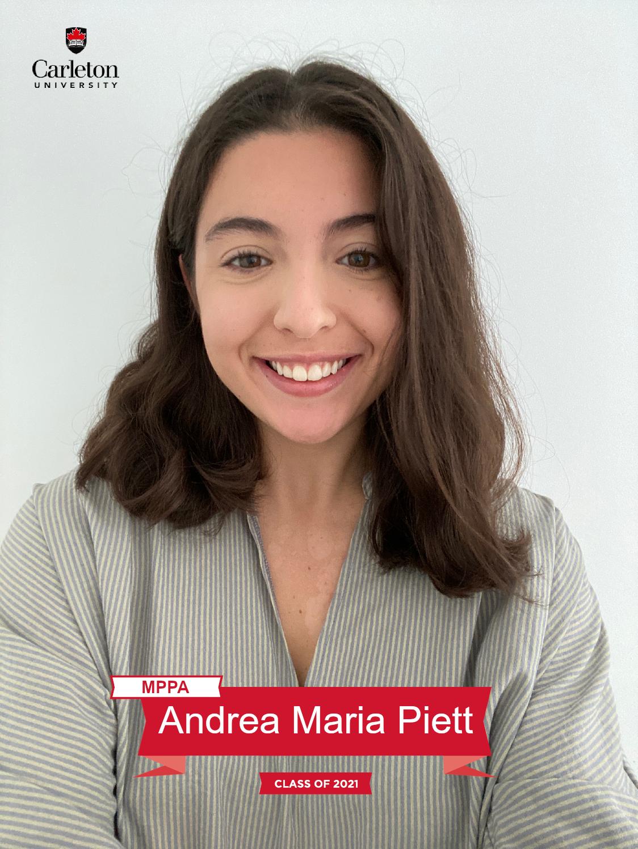 Andrea Maria Piett. MPPA graduate, class of 2021