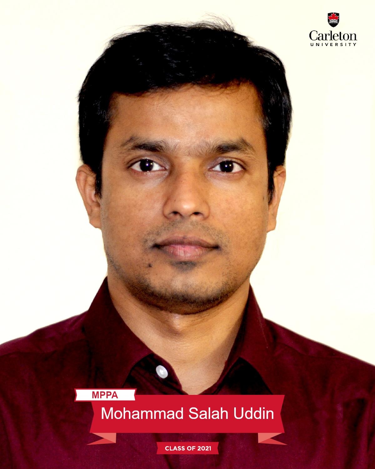 Mohammad Salah Uddin. MPPA graduate, class of 2021