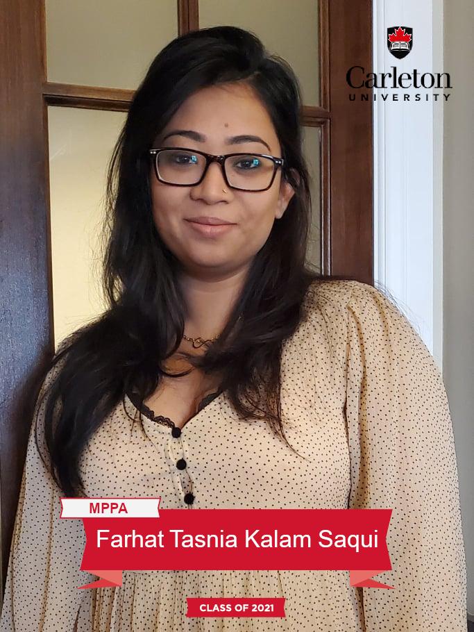 Farhat Tasnia Kalam Saqui. MPPA graduate, class of 2021