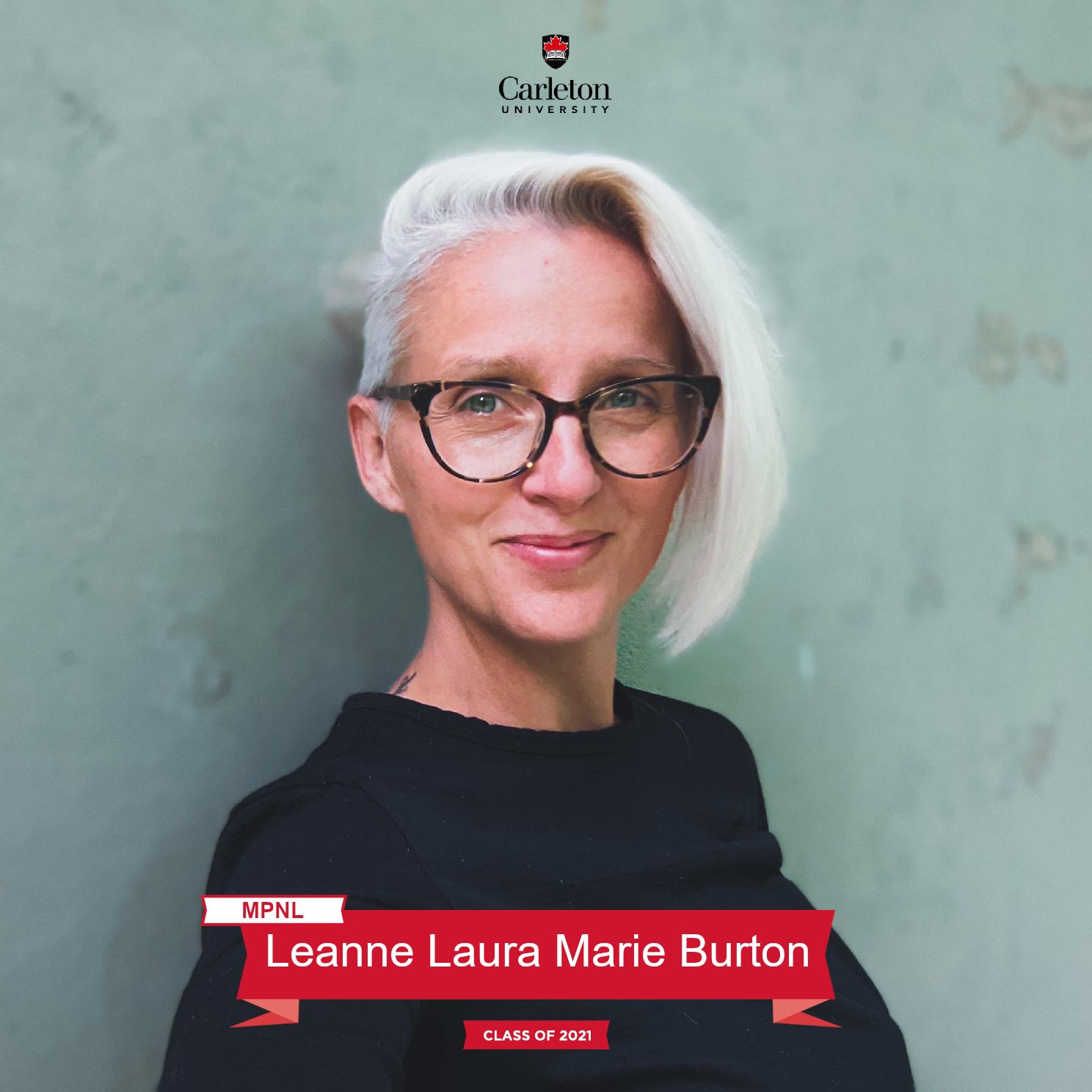 Leanne Laura Marie Burton. MPNL graduate, class of 2021