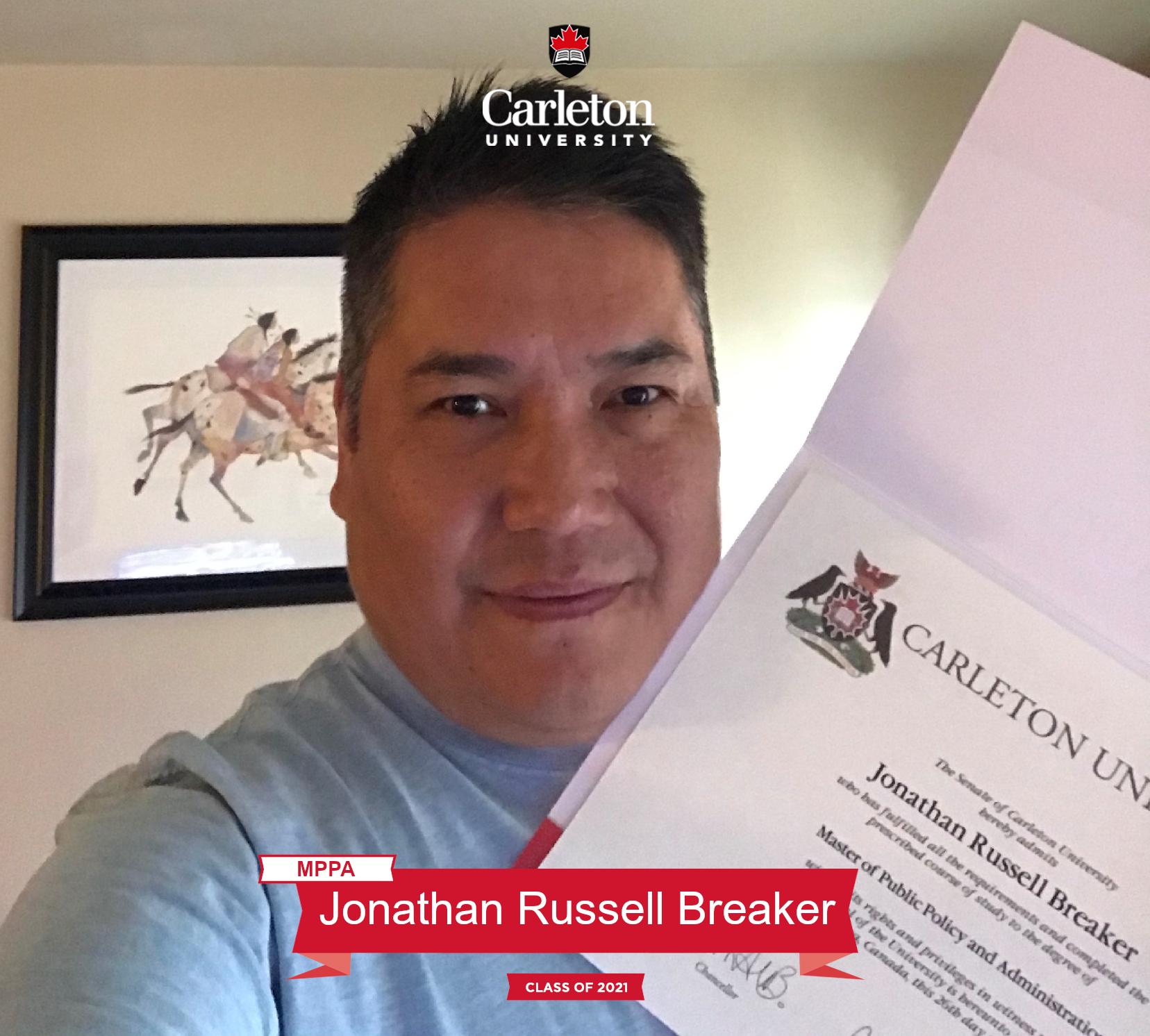 Jonathan Russell Breaker. MPPA graduate, class of 2021
