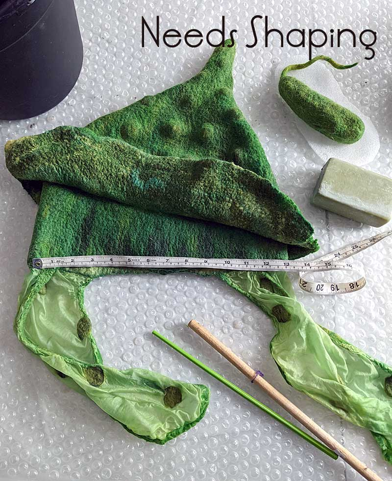 Felted up Pickle Hat that needs shaping.