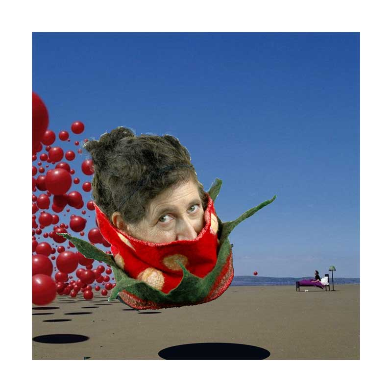 Digital Collage with Strawberry Cowl wearer in homage to Cranberries album cover.